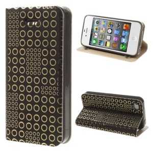 ZHUDIAO Dots Sucker Stand Leather Case Cover for iPhone 4 4S - Gold / Black