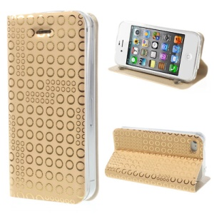 ZHUDIAO Dots Sucker Leather Case Shell for iPhone 4 4S w/ Stand - Gold