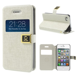 White DR Chen Window View Oracle Grain Leather Stand Shell for iPhone 4 4S