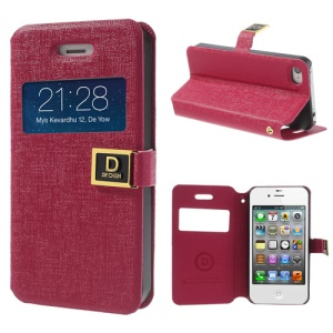 Rose for iPhone 4 4S Window View Oracle Grain Folio Stand Leather Case