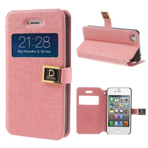 Pink for iPhone 4 4S Window View Oracle Grain Magnetic Leather Case Stand