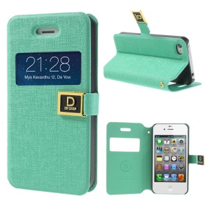 Cyan Window View Magnetic Oracle Grain Leather Shell Stand for iPhone 4 4S