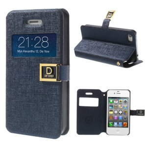 Dark Blue for iPhone 4 4S Window View Stand Oracle Grain Leather Skin Case