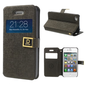 Dark Brown for iPhone 4 4S Window View Stand Oracle Grain Leather Cover Case