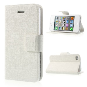 Oracle Grain Leather Stand Case Shell for iPhone 4 4S - White