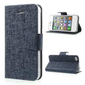 Oracle Grain for iPhone 4 4S Stand Leather Skin Case - Dark Blue