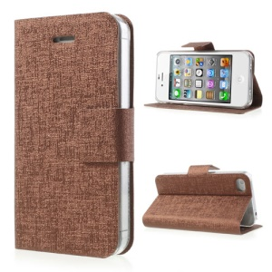 Oracle Grain Stand Protective Leather Case for iPhone 4 4S - Brown