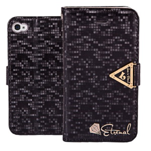 Leiers Eternal Series Grid Wallet Leather Stand Case for iPhone 4s 4 w/ Strap - Black