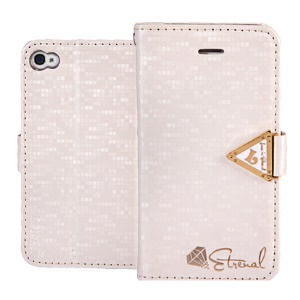 Leiers Eternal Series Grid Wallet Leather Stand Cover for iPhone 4s 4 w/ Strap - White