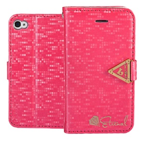 Leiers Eternal Series Grid Stand Leather Wallet Case for iPhone 4s 4 w/ Strap - Rose