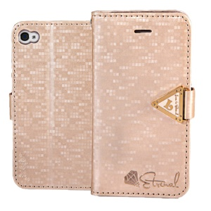Leiers Eternal Series Grid Leather Wallet Case Stand for iPhone 4s 4 w/ Strap - Champagne Gold