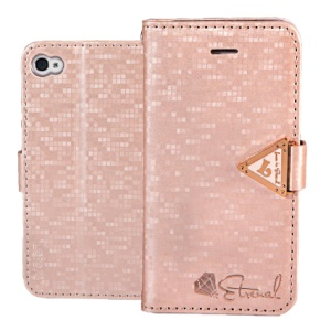 Leiers Eternal Series Grid Stand Leather Wallet Cover for iPhone 4s 4 w/ Strap - Pink