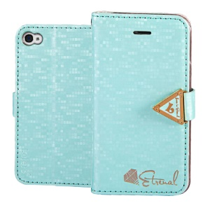 Leiers Eternal Series Grid Leather Wallet Cover Stand for iPhone 4s 4 w/ Strap - Blue
