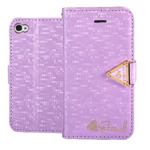 Leiers Eternal Series Grid Wallet Leather Protective Case for iPhone 4s 4 w/ Strap - Purple