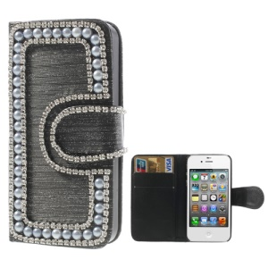Sparkling Rhinestone & Pearl Inlaid Brushed Leather Wallet Case for iPhone 4 4S - Black