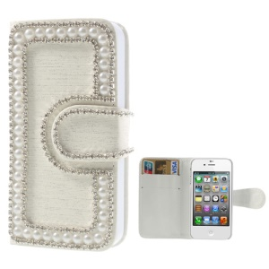 Sparkling Rhinestone & Pearl Inlaid Brushed Leather Wallet Cover for iPhone 4 4S - White