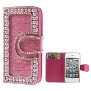 Sparkling Rhinestone & Pearl Inlaid Brushed Wallet Leather Case for iPhone 4 4S - Rose