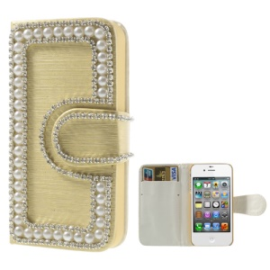 Sparkling Rhinestone & Pearl Inlaid Brushed Wallet Leather Cover for iPhone 4 4S - Gold