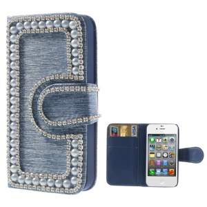 Sparkling Rhinestone & Pearl Inlaid Brushed PU Leather Wallet Case for iPhone 4 4S - Blue