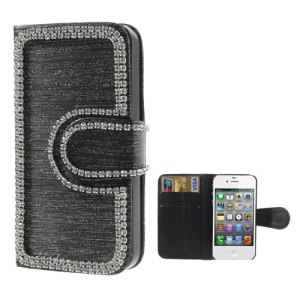 Rhinestone Inlaid Brushed Leather Wallet Case for iPhone 4 4S - Black