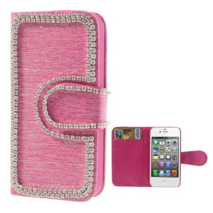 Rhinestone Inlaid Brushed Wallet Leather Cover for iPhone 4 4S - Rose
