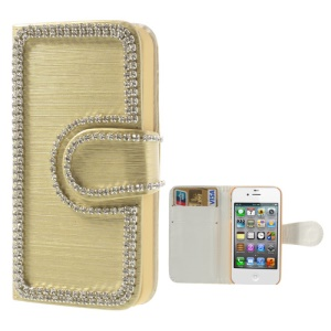Rhinestone Inlaid Brushed Wallet Leather Case for iPhone 4 4S - Gold