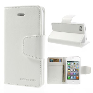 Mercury Goospery Sonata Diary Leather Wallet Case for iPhone 4s 4 w/ Stand - White