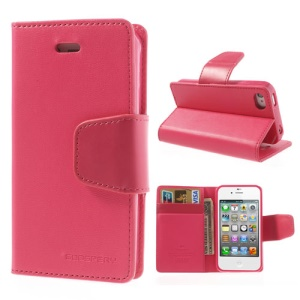Mercury Goospery Sonata Diary Leather Wallet Cover for iPhone 4s 4 w/ Stand - Rose