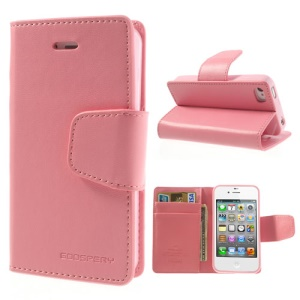 Mercury Goospery Sonata Diary Leather Stand Case for iPhone 4s 4 - Pink