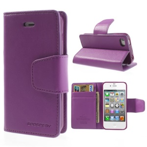 Mercury Goospery Sonata Diary Leather Stand Cover for iPhone 4s 4 - Purple