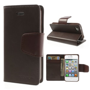 Mercury Goospery Sonata Diary Leather Magnetic Case for iPhone 4s 4 w/ Stand - Coffee