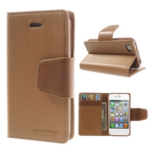 Mercury Goospery Sonata Diary Leather Magnetic Cover for iPhone 4s 4 w/ Stand - Brown