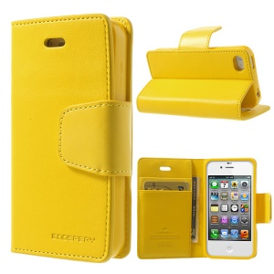 Mercury Goospery Sonata Diary Protective Leather Case for iPhone 4s 4 w/ Stand - Yellow