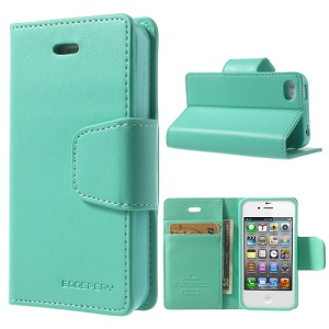 Mercury Goospery for iPhone 4s 4 Sonata Diary Flip Leather Case w/ Stand - Cyan