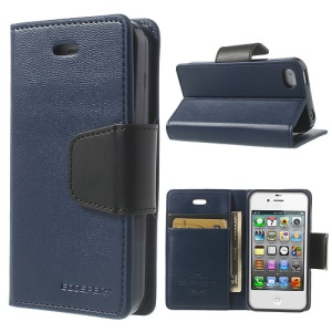Mercury Goospery for iPhone 4s 4 Sonata Diary Flip Leather Skin Cover w/ Stand - Dark Blue