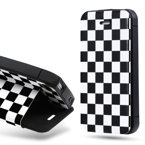 Takefans Checkerboard Stand Leather Case Shell for iPhone 4 4S - Black