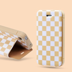 For iPhone 4 4S Takefans Checkerboard Leather Cover Case Stand - Apricot