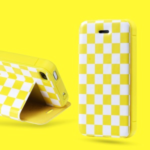 Takefans Checkerboard for iPhone 4 4S Stand Leather Case Accessory - Yellow