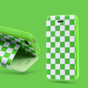 Takefans Checkerboard for iPhone 4 4S Leather Stand Case Cover - Green