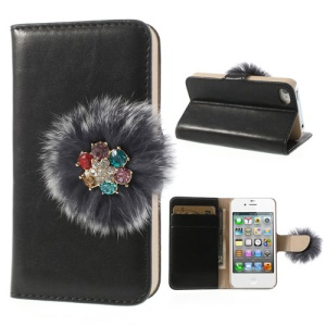 Twinkling Rhinestone & Soft Plush Magnetic Leather Wallet Case for iPhone 4 4s w/ Stand - Black