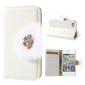 Twinkling Rhinestone & Soft Plush Magnetic Leather Wallet Cover for iPhone 4 4s w/ Stand - White