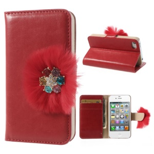 Twinkling Rhinestone & Soft Plush Magnetic Leather Wallet Case Stand for iPhone 4 4s - Red