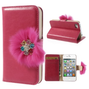 Twinkling Rhinestone & Soft Plush Magnetic Leather Wallet Cover Stand for iPhone 4 4s - Rose