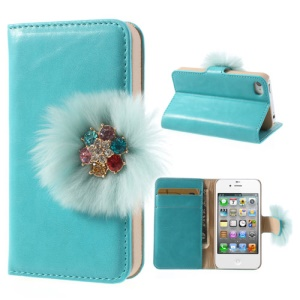 Twinkling Rhinestone & Soft Plush Magnetic Wallet Leather Stand Case for iPhone 4 4s - Blue