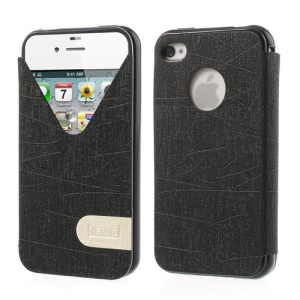 ilavie V Shape View Show Girl Series Flip Leather TPU Cover for iPhone 4s 4 - Black