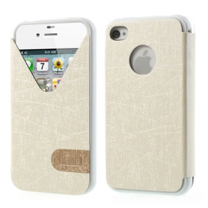 ilavie V Shape View Show Girl Series Flip Leather TPU Case for iPhone 4s 4 - White