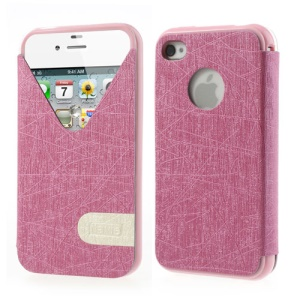 ilavie V Shape View Show Girl Series Folio Leather TPU Case for iPhone 4s 4 - Rose