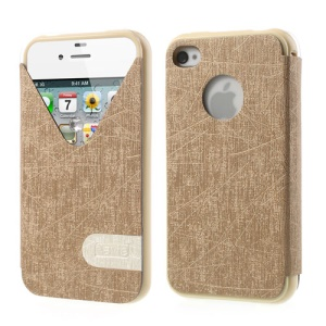 ilavie V Shape View Show Girl Series Folio Leather TPU Cover for iPhone 4s 4 - Champagne