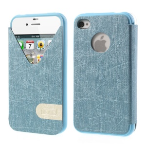 ilavie V Shape View Show Girl Series TPU Inner Leather Flip Cover for iPhone 4s 4 - Blue