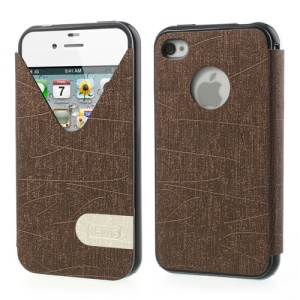 ilavie V Shape View Show Girl Series TPU Inner Leather Flip Case for iPhone 4s 4 - Brown